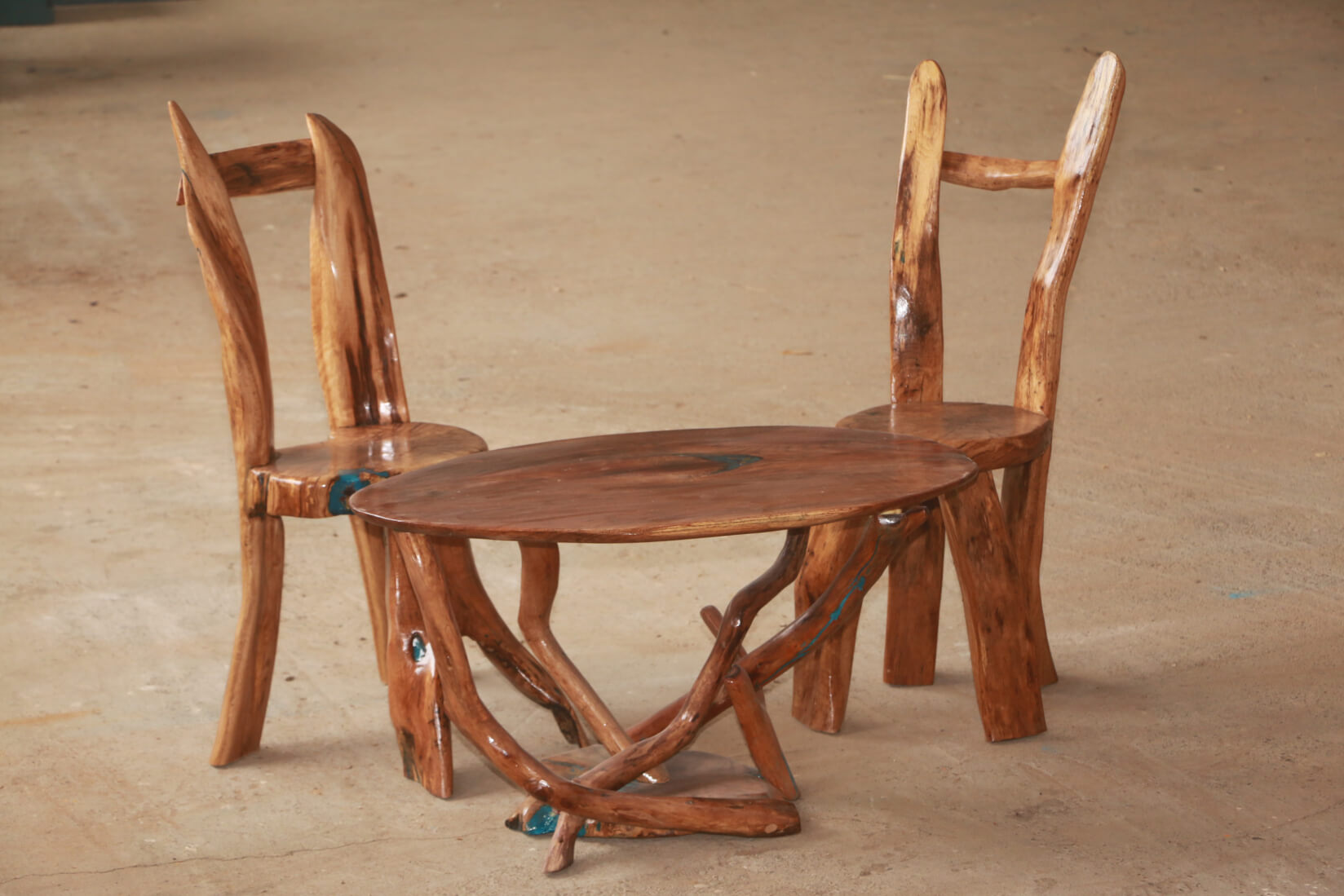 Wood chairs and rount table