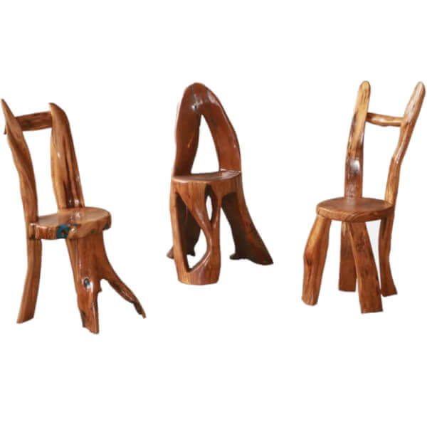 wooden chairs with  three legs